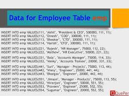 employee table sql queries database systems sql ddl statements chapter 3 3