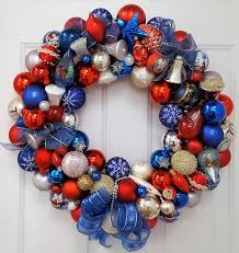 24 vintage glass ornament wreath crafted patriotic