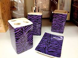 amazon com purple zebra print ceramic bathroom set 4 pieces