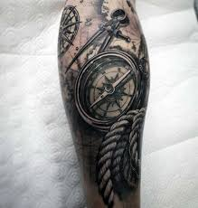 mens 3d compass with realistic nautical themed leg sleeve