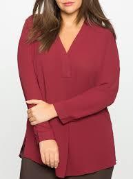 plus size blouses burgundy v neck plus size split side chiffon blouse plus trendy