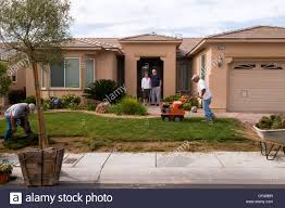 workers from the water authority in las vegas xeriscape a front