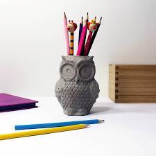 Desk Pencil Holder Concrete Owl Pen Holder By U Rok Design Notonthehighstreet Com
