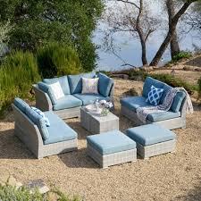 best corvus piece grey wicker patio furniture set with blue cushions