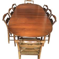 Dining Room Table 6 Chairs by Vintage Hitchcock Dining Set Table 2 Leaves U0026 6 Chairs Rush