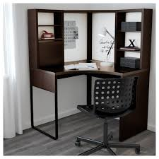 Modern Corner Desk by Micke Corner Workstation Black Brown 100x142 Cm Ikea