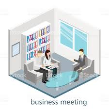flat 3d web isometric office meeting room stock vector art
