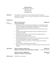 objective for accounting resume entry level finance resume