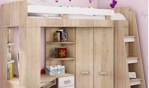 lit combiné en hauteur enfant avec bureau et armoire en bois