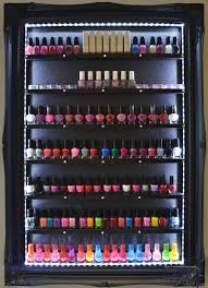 nail polish rack beauty product organiser black glitter led lights