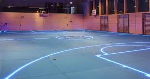 s smart floor uses led lights for changeable boundary lines