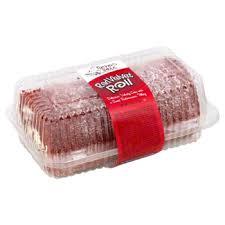 table red velvet cake roll with buttercream filling frozen