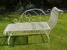 Shabby Chic Chaise by Elegant French Garden Bench Seat Chaise Type Metal Antique Ivory