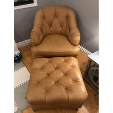 tufted leather chair and ottoman lee industries custom tufted leather armchair u0026 ottoman aptdeco
