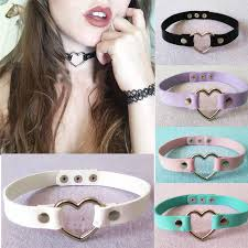 heart collar choker necklace images 2018 free dhl colorful collar punk goth heart choker necklace jpg