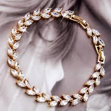 white gold leaf bracelet images Ex759 s white gold gf wedding bracelet w swarovski crystal ex579 jpg