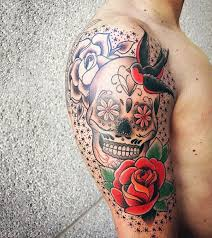 collection of 25 flower skull on thigh