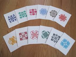 note cards on sale with printed papercut designs horoscope