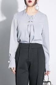 sleeve chiffon blouse 2018 faux pearl sleeve chiffon blouse light gray xs in