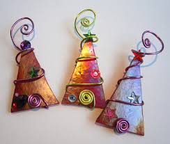 tree trio glass ornaments wire wrapped by glassartelements