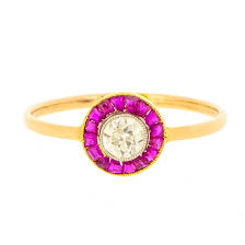 deco ruby and diamond target ring