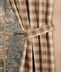 Tie Back Kitchen Curtains by Amazon Com Country Kitchen Cinnamon Brown Plaid Tie Back Curtains