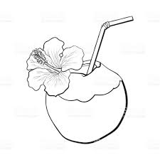 cocktail clipart black and white coconut cocktail drink decorated with hibiscus flower summer