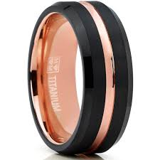 comfort fit ring oliveti black and rosegold titanium wedding band comfort fit ring