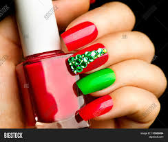 christmas nail art manicure winter holiday style bright manicure