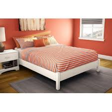 greenhome123 queen size contemporary platform bed frame in white