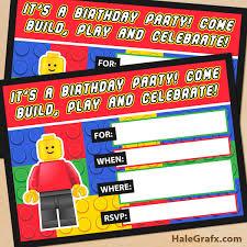printable lego building blocks birthday invitation