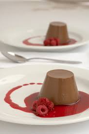 chocolate and cointreau panna cotta with raspberry coulis chefs