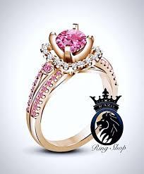 pink crystal rings images Sleeping beauty inspired pink swarovski rose gold engagement ring jpg