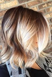 brown to blonde balayage with chunky blonde pieces framing the