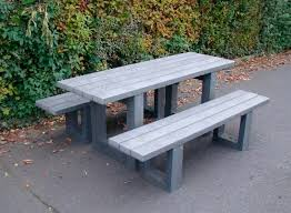 contemporary bench and table set recycled plastic outdoor