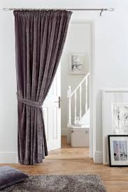 Curtain Door Pile Velvet Door Curtain Pencil Pleat Fully Lined Washable