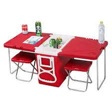 Patio Cooler Table Multi Function Patio Cooler Table Chairs Included Or Blue