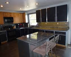 Where To Buy Stainless Steel Backsplash - granite countertop with gray cabinets stainless steel backsplash