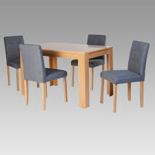 Oak Dining Table And Fabric Chairs Oak Dining Set With 4 Grey Fabric Chairs