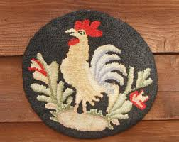 Round Rooster Rug Colorful Rooster Etsy