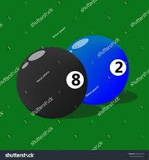 Eight Two Numbers Billiard Balls Stock Vector