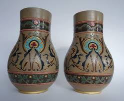 sarreguemines arts crafts ornamental vases with enamelled decor