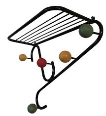 mid century design french hat and coat rack with colored balls