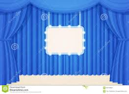 Blue Curtains Vintage Theater Or Cinema Stage With Blue Curtains And Marquee