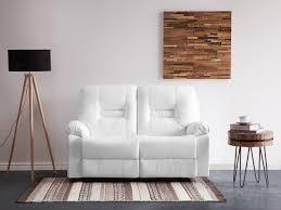 Sofa Bergen White Faux Leather 2 Seater Bergen Beliani Co Uk