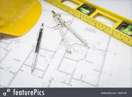 Custom House Blueprints Hard Hat Pencil Level And Compass Resting On House Plans Picture