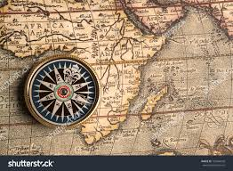 Compass Map Old Compass On Vintage Retro Map Stock Photo 156844928 Shutterstock