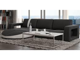 vente unique com canapé canapé d angle réversible en simili talita noir et bande blanche