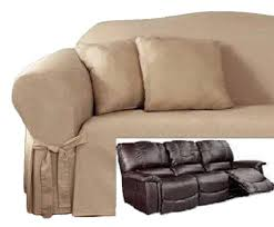 Covers For Recliner Sofas Reclining Sofa Slipcover Cotton Taupe Adapted For Dual Recliner
