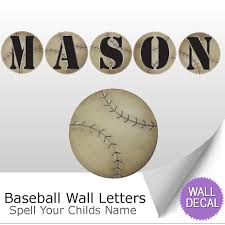 name wall letters alphabet stickers initial decals boys sports baseball name wall letter stickers